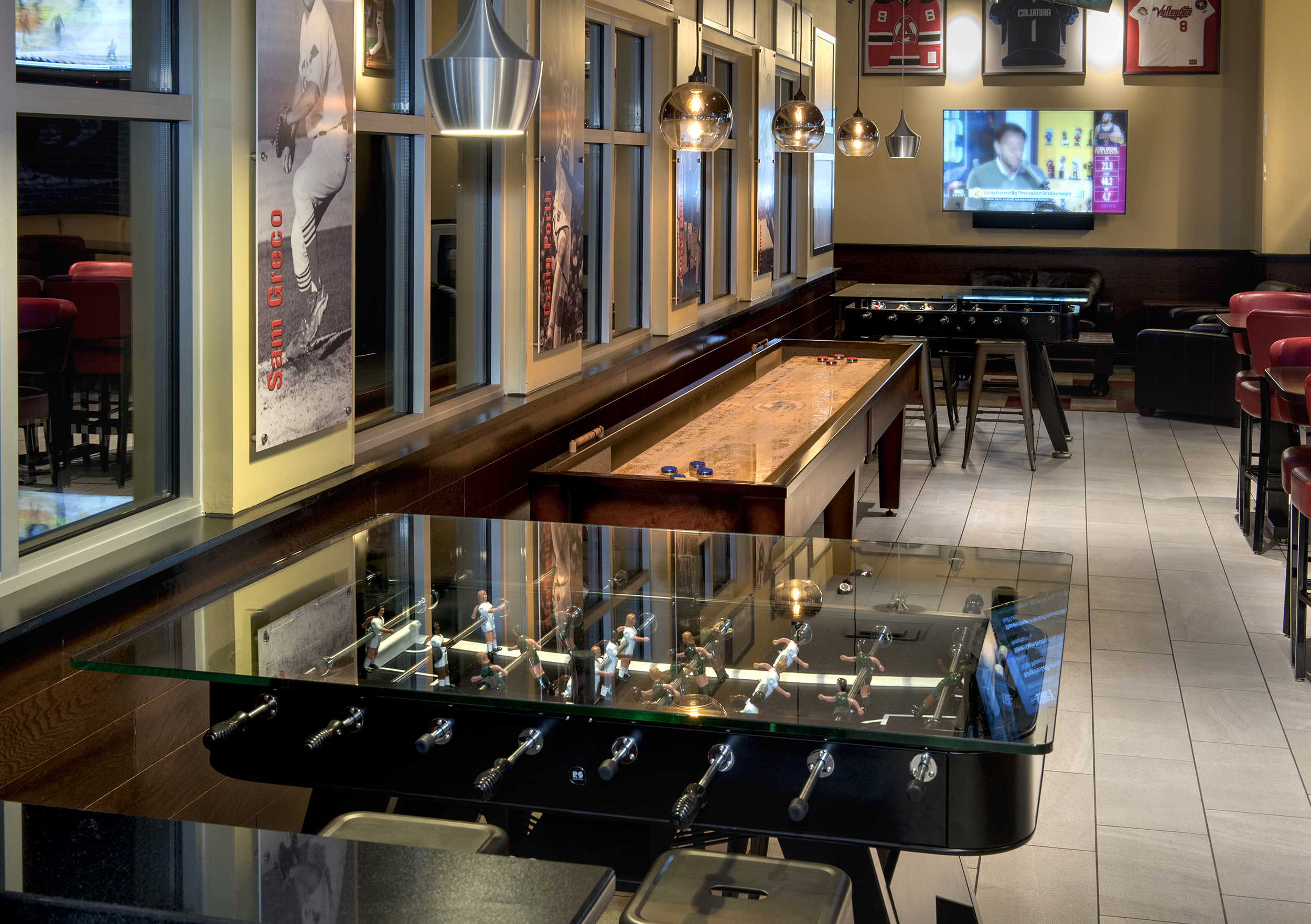 Foosball table and shuffle board